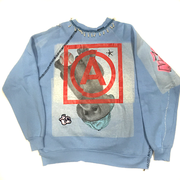 U.S ALTERATION MICKEY MOUSE BABY BLUE VINTAGE DISTRESSED SWEATSHIRT WITH FLORIDA DETAIL XL