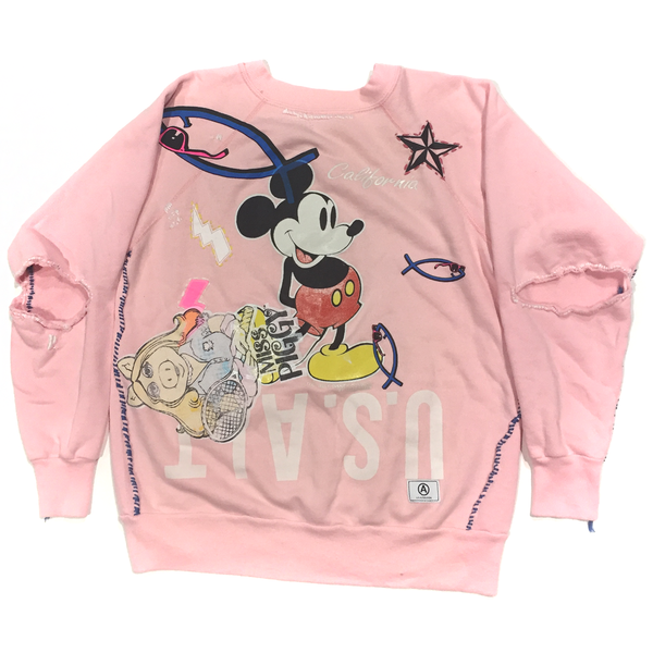 U.S ALTERATION MICKEY MOUSE VINTAGE DISTRESSED SWEATSHIRT WITH MISS PIGGY M