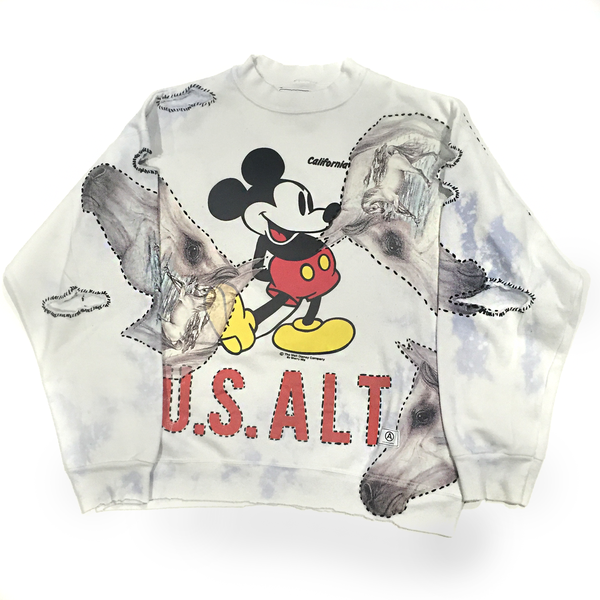 U.S ALTERATION MICKEY MOUSE WHITE VINTAGE DISTRESSED SWEATSHIRT WITH HORSES AND UNICORNS L