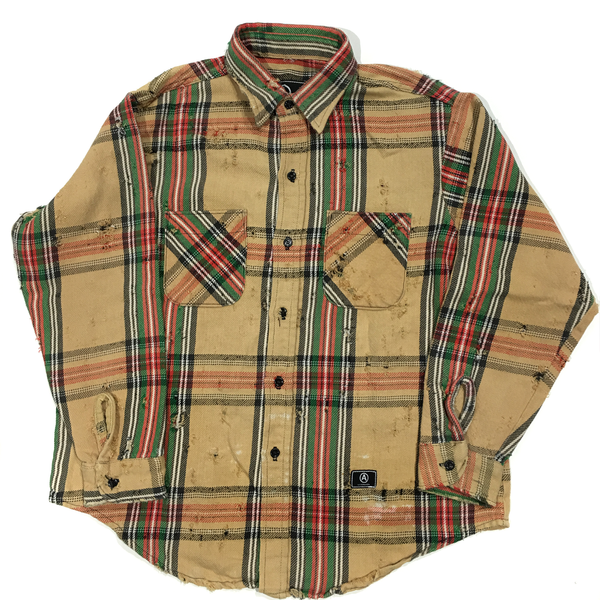 U.S ALTERATION VINTAGE DISTRESSED FLANNEl MUSTARD GREEN RED SHIRT/LARGE