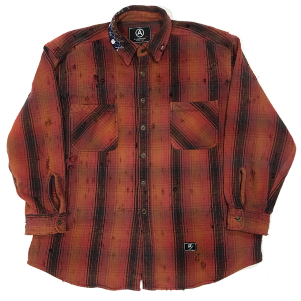 U.S ALTERATION VINTAGE DISTRESSED FLANNEL RED ORGANGE SHIRT/XLARGE