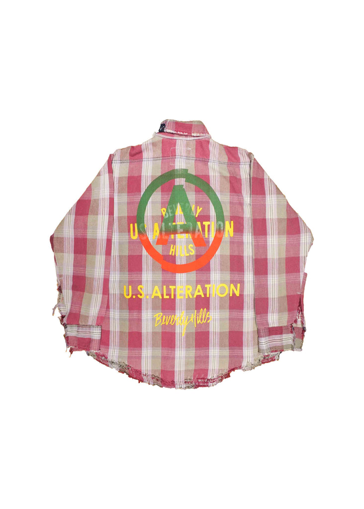 "VINTAGE ""checkered"" FLANNEL // deconstructed x bleached - w/ screen print overlay"