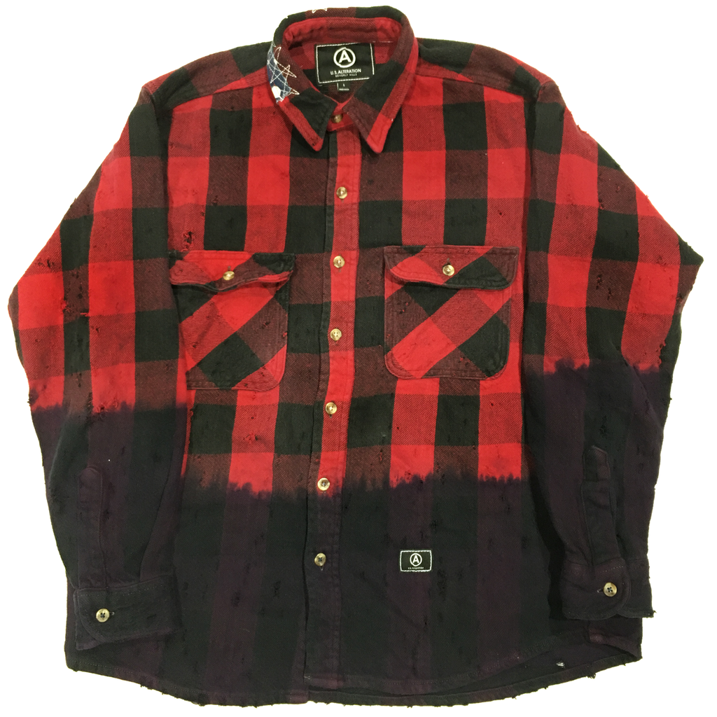 U.S ALTERATION VINTAGE DISTRESSED FLANNEL RED BLACK PURPLE TIE DYE SHIRT /LARGE