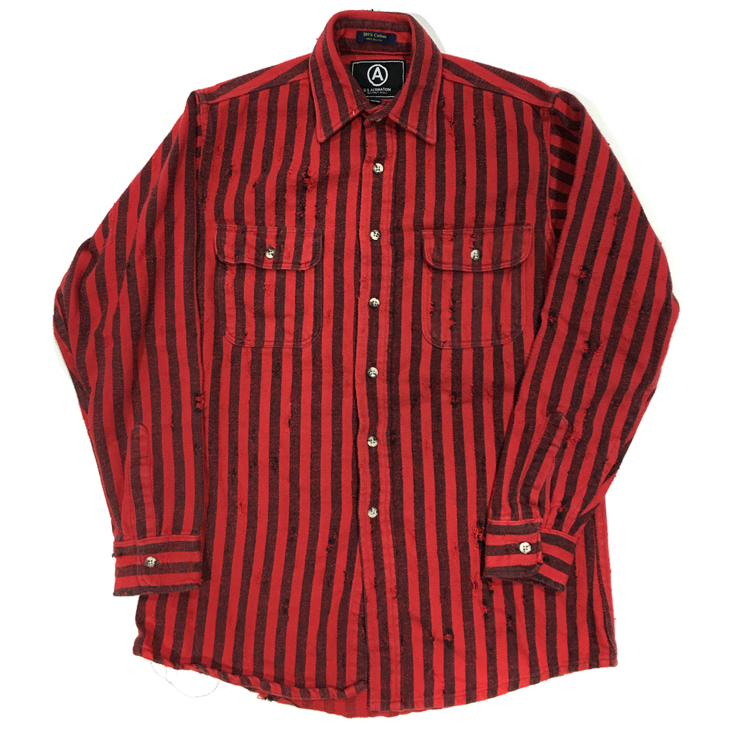 U.S ALTERATION VINTAGE DISTRESSED FLANNEL RED BLACK STRIPES SHIRT/MEDIUM