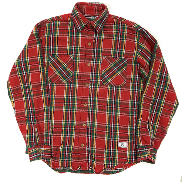 U.S ALTERATION VINTAGE DISTRESSED FLANNEL RED GREEN YELLOW BEVERLY HILLS STAMP SHIRT/MEDIUM