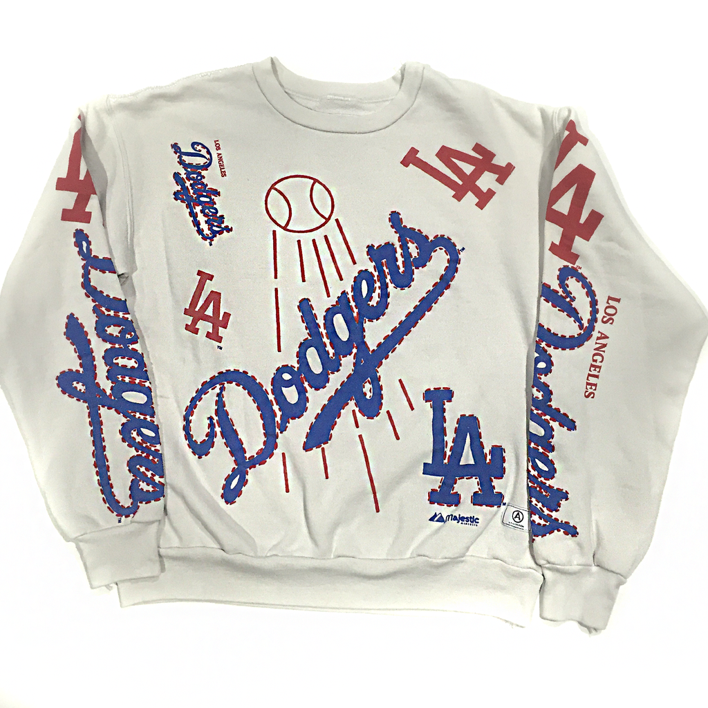U.S ALTERATION VINTAGE DISTRESSED DODGERS EMBROIDERED L.A SWEATSHIRT XL