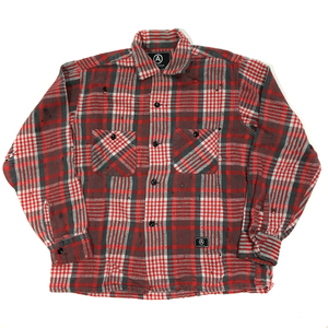 U.S ALTERATION VINTAGE DISTRESSED FLANNEL ALL RED SHIRT/SMALL