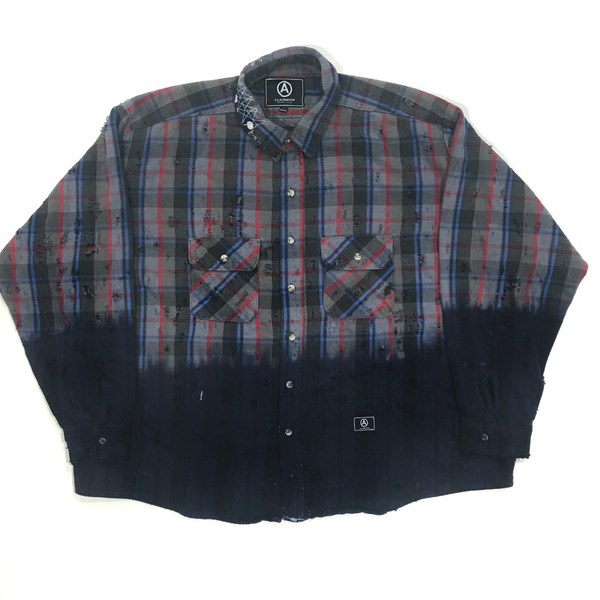 U.S ALTERATION VINTAGE DISTRESSED FLANNEL GREY RED BLACK SHIRT/XLARGE