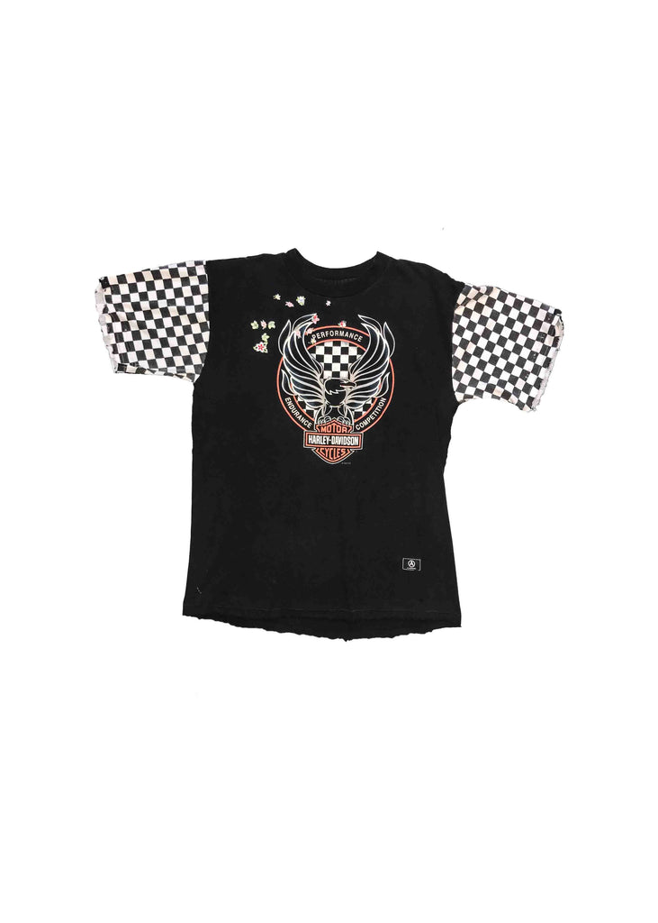 HARLEY DAVIDSON TEE // VINTAGE FLOWER PATCHES