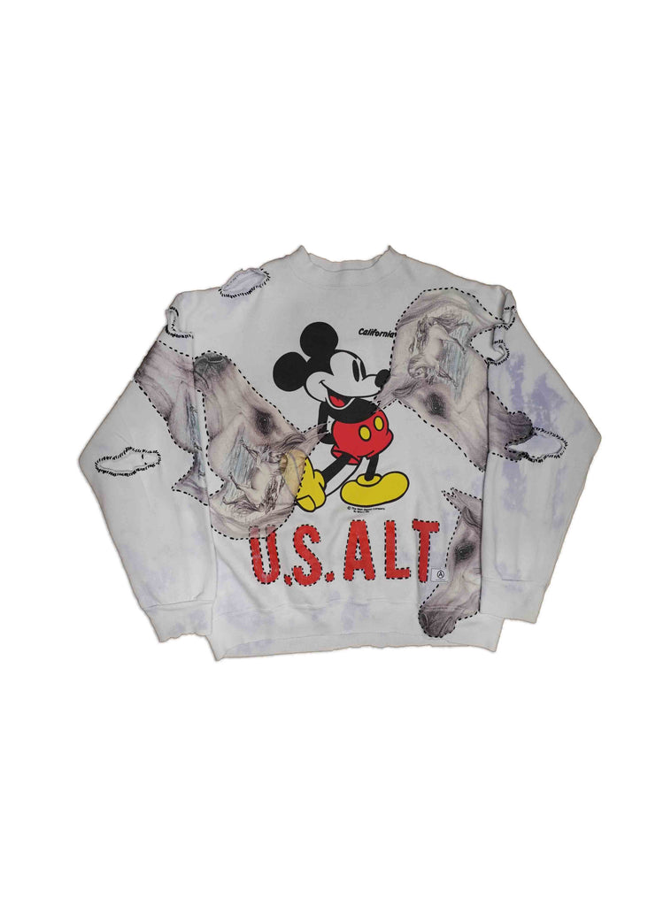 US ALTERATION // MICKEY CREW NECK WITH CUSTOM FINISHING