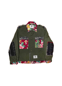 US ALTERATION // MILITARY JACKET WITH FLORAL DECO
