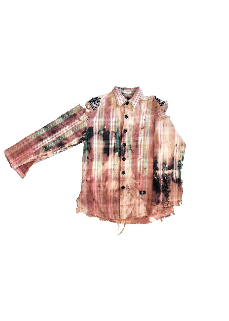 FLANNEL // PINK WITH WHITE GROMMETS // S