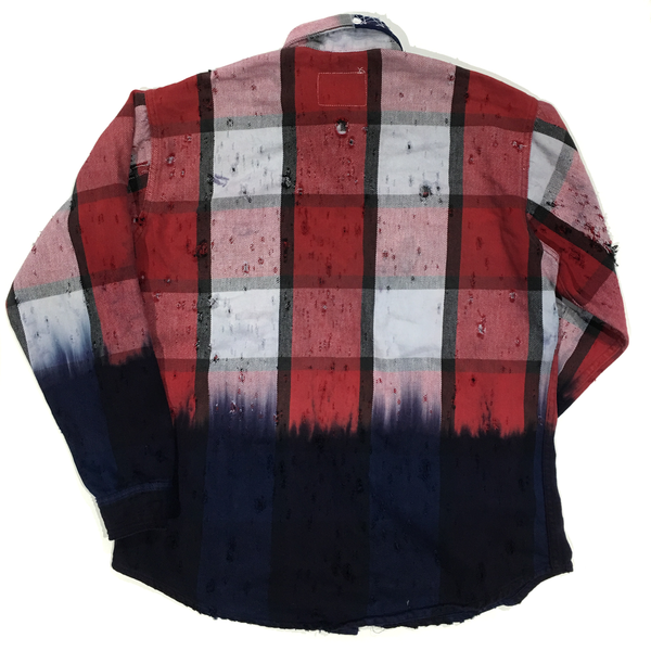 U.S ALTERATION VINTAGE DISTRESSED FLANNEL RED BLUE WHITE SHIRT/XLARGE