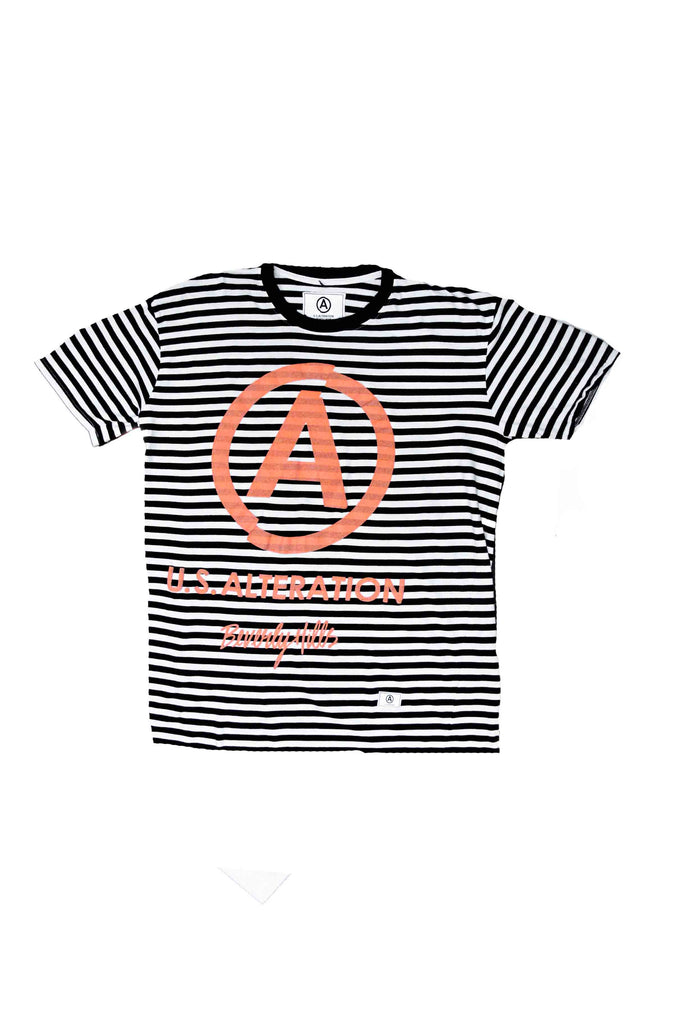 STRIPE TEE // NEON ORANGE PUFFY PAINT OVERLAY