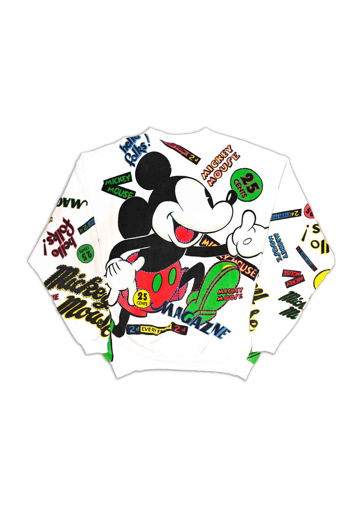 MICKEY MOUSE // US ALTERATION WHITE CREW NECK WITH  STITCHING