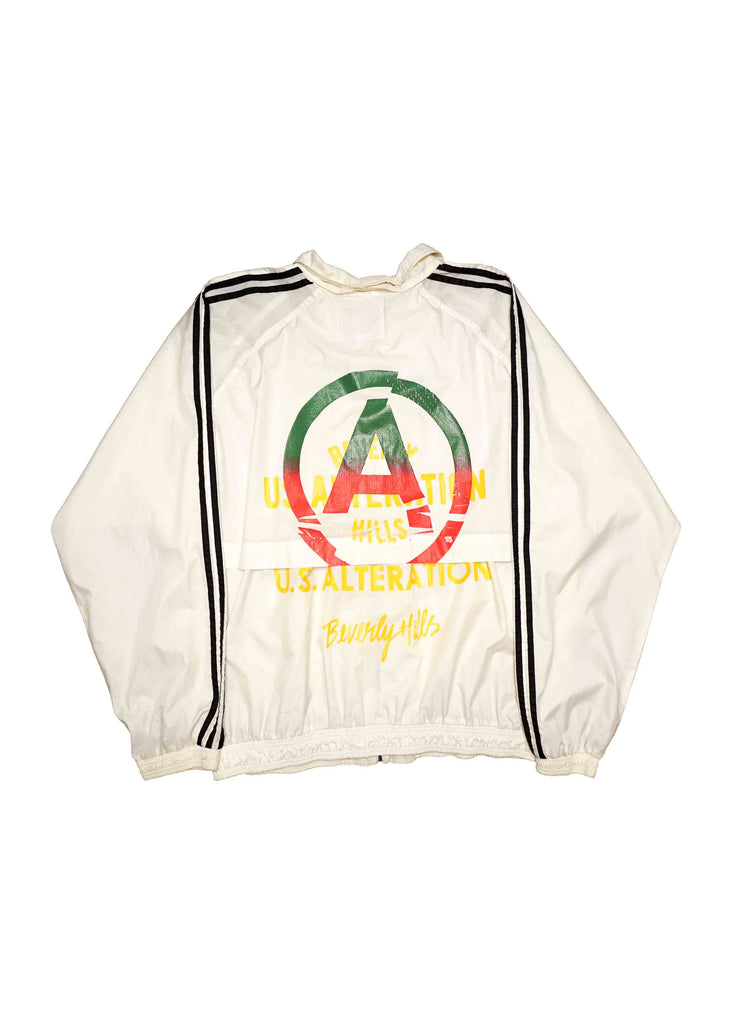 WHITE  ADIDAS WINDBREAKER // US. ALTERATION SCREEN PRINT