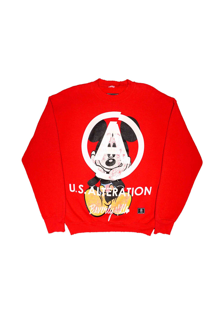 RED MICKEY MOUSE CREW NECK// US ALTERATION WHITE SCREEN PRINT
