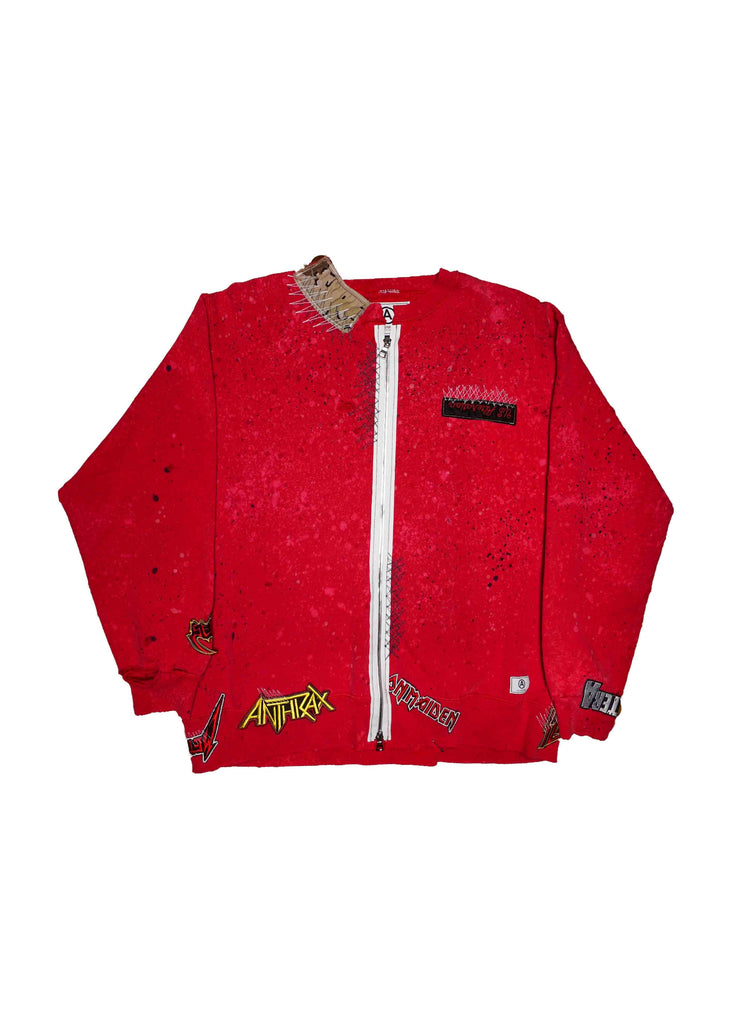 "vintage ""champion"" altered // u.s. alteration // RED // zip-up sweatshirt w/ ""PUNK"" patch detail"