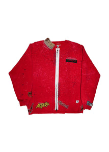 RED CREW NECK WITH PATCHES
