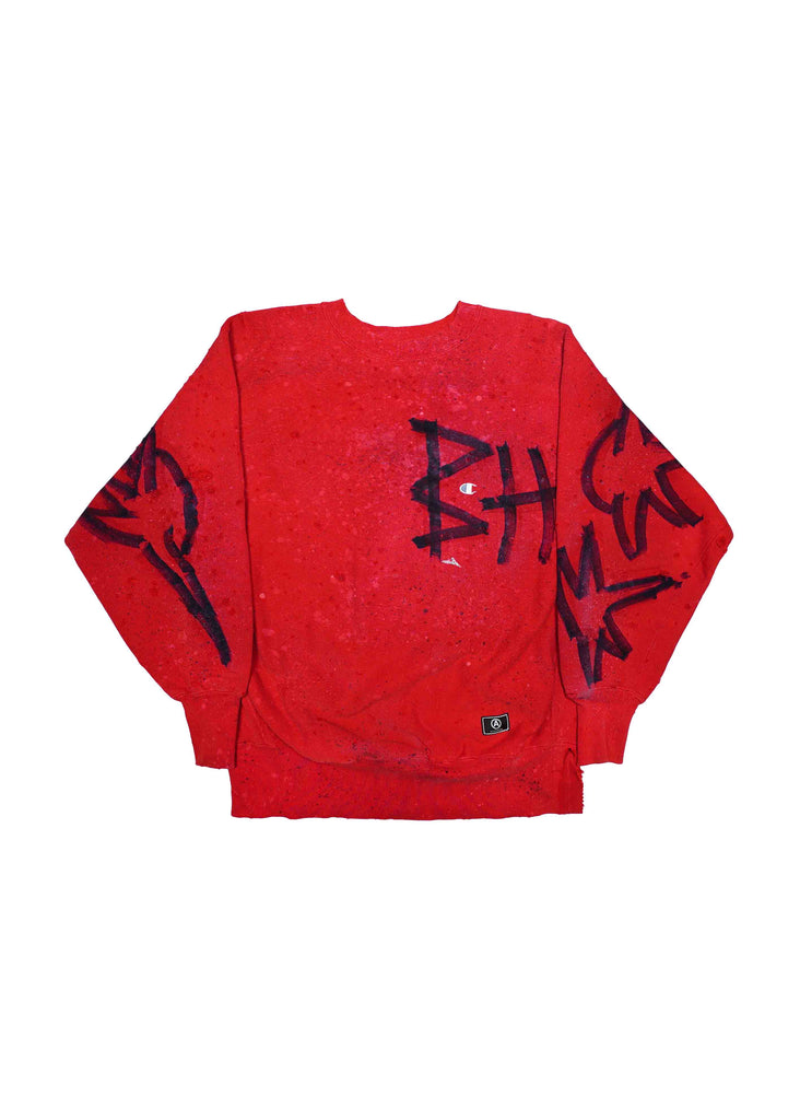 "VINTAGE ""CHAMPION"" // DISTRESSED X HAND TAGGED-BH //RED CREW NECK"
