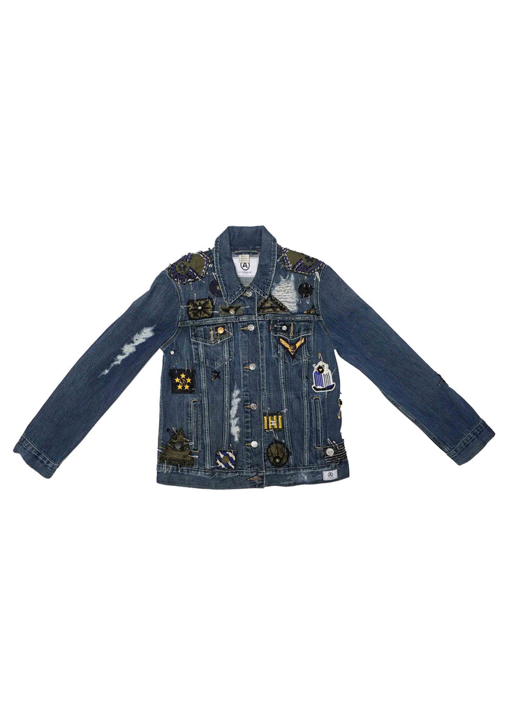 "US ALTERATION DENIM JACKET w/ ""VINTAGE""  MILITARY PATCHES x CHANEL BUTTON DETAIL"