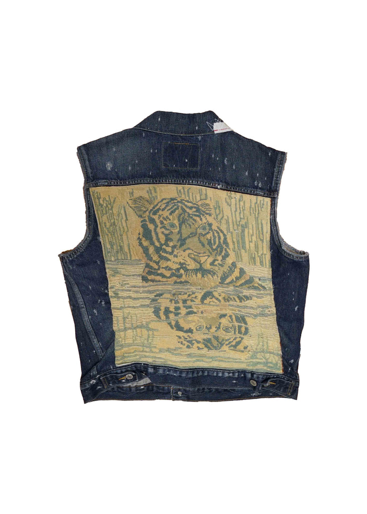 US ALTERATION // DENIM VEST WITH TIGER QUILT