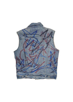 US ALTERATION // DENIM VEST WITH MIGGY STARS
