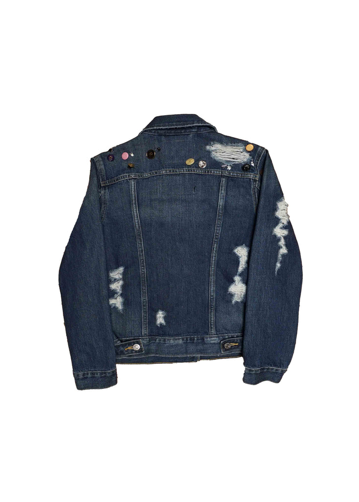 US ALTERATION // LEVIS DENIM JACKET W/ CHANEL BUTTONS