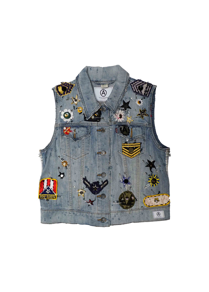U.S. ALTERATION  vintage denim with military x button  embellishments