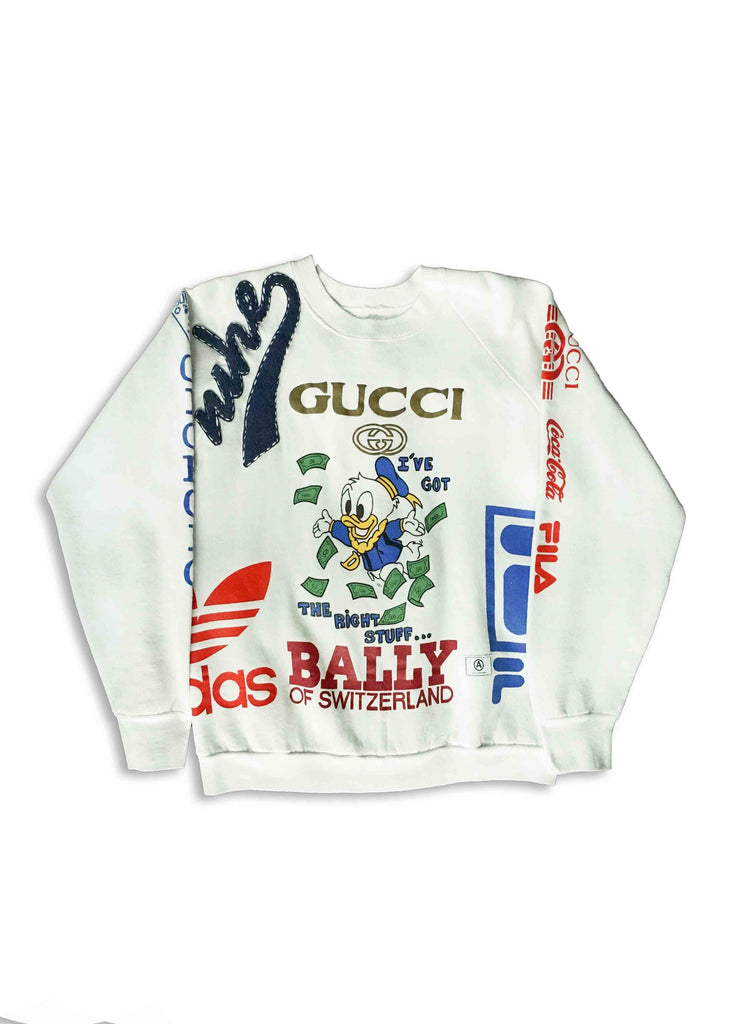 GUCCI // WHITE CREW NECK WITH STITCHING DETAIL