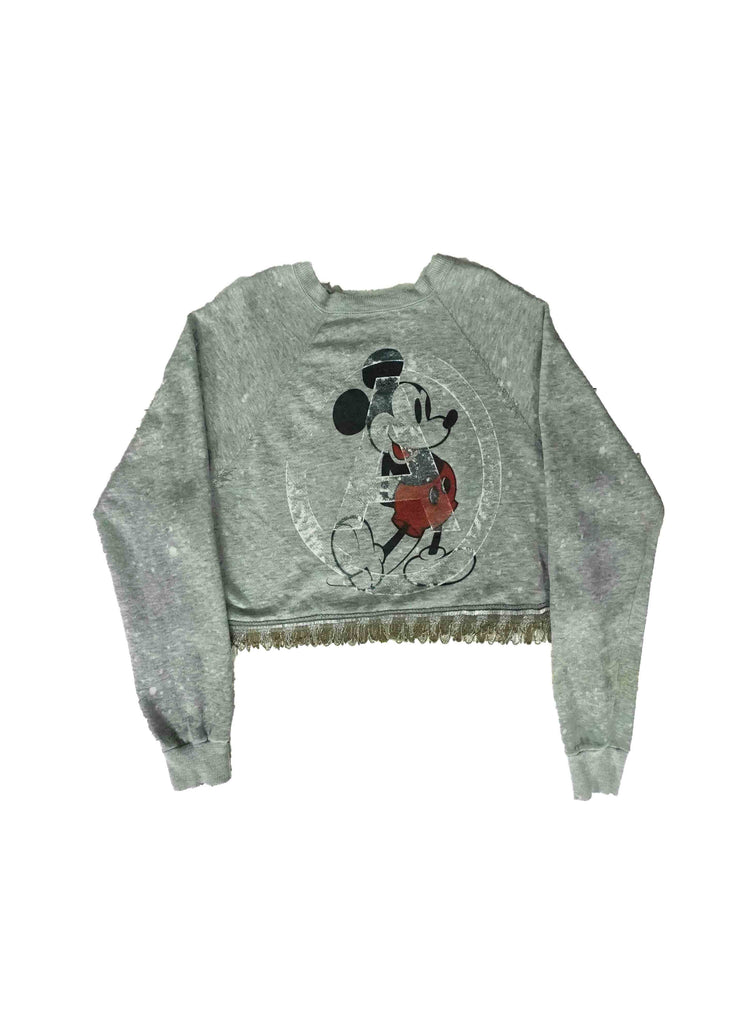 MICKEY MOUSE CROP TOP // GREY CREW NECK WITH GOLD FRINGE