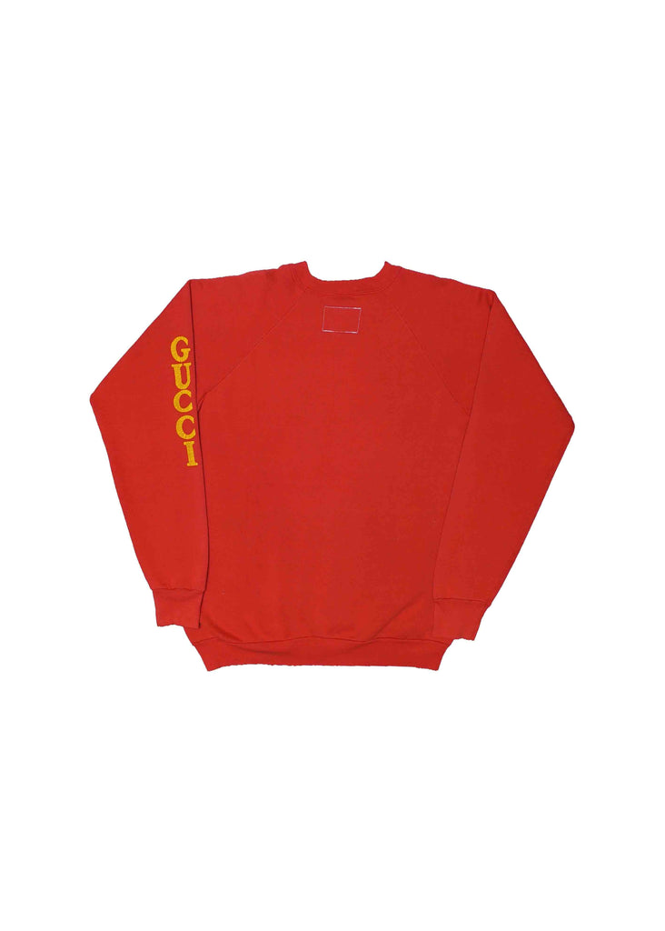 GUCCI RED CREW NECK WITH SCREENPRINT