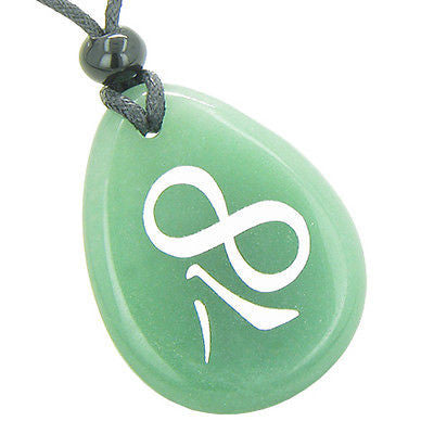 Magic and Lucky Kanji Infinity Eight Symbol Good Luck Powers Amulet Green Aventu