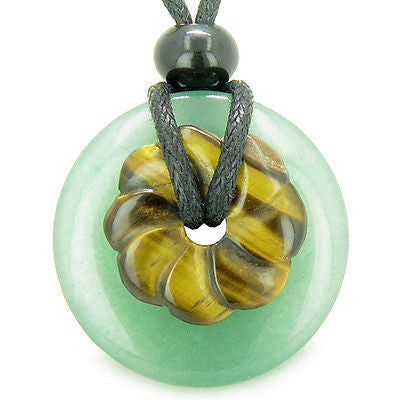 Double Lucky Amulet Magic Donut and Flower Green Aventurine Tiger Eye Gemstones
