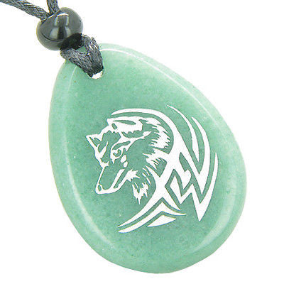 Courage and Protection Lucky Wolf Good Luck Amulet Green Aventurine Wish Totem G