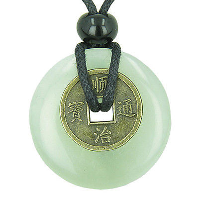 Antique Lucky Coin Evil Eye Protection Powers Amulet Green Jade Gemstone 30mm Do