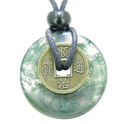 Antique Lucky Coin Good Luck Powers Amulet Green Moss Agate Gemstone 30mm Donut