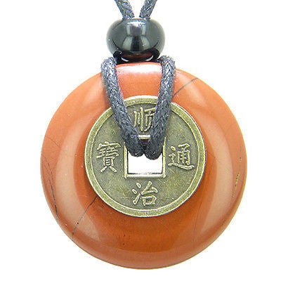 Antique Lucky Coin Believe Powers Amulet Red Jasper Gemstone 30mm Donut Pendant