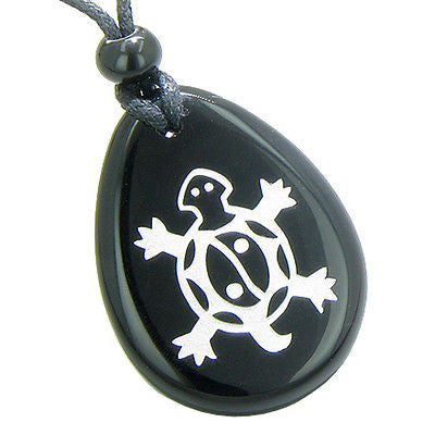 Lucky Turtle and Magic Yin Yang Spiritual Powers Amulet Black Onyx Wish Totem Ge