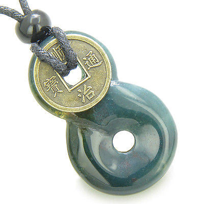 Infinity Magic Knot Lucky Coin and Good Luck Amulet Indian Agate Gemstone Pendan
