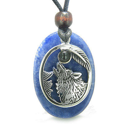 Amulet Courage Howling Wolf and Moon Charm in Sodalite and Black Onyx Gemstones