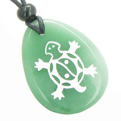 Lucky Turtle and Magic Yin Yang Good Luck Powers Amulet Green Aventurine Wish To