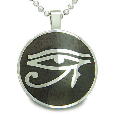 All Seeing Eye of Horus Egyptian Magic Black Wood Amulet Magic Powers Circle Pur