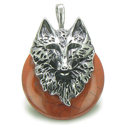 Amulet Wolf Head Courage and Protection Powers Lucky Donut Red Jasper Stainless
