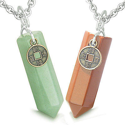 Amulets Positive Energy Love Couple or Best Friends Lucky Coin Crystal Point Gre