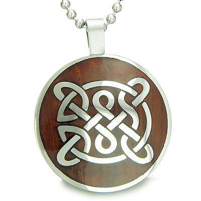 Life Protection Celtic Shield Knot Cherry Wood Amulet Magic Powers Circle Pure S