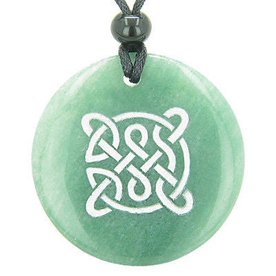 Life Protection Celtic Shield Knot Amulet Green Aventurine Magic Gemstone Circle