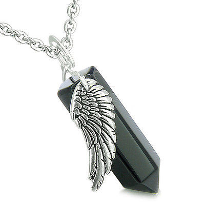 Amulet Angel Wing Archangel Michael Magic Wand Crystal Point Black Onyx Positive