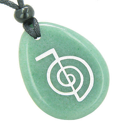 Tibetan Life Energy Power ChoKu Ray Reiki Good Luck Amulet Green Aventurine Wish