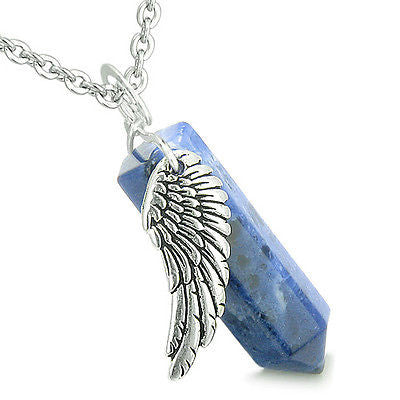 Amulet Angel Wing Archangel Gabriel Magic Wand Crystal Point Sodalite  Positive S